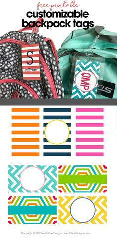 DIY backpack tags free printable customizable backpack tag for kids back to school backpack tags Backpack Tags, Diy Backpack, Templates Printable Free, Free Printables, Diy Bag Tags, Luggage Tag Template, Nametags For Kids, Kids Labels, Sewing Projects For Kids