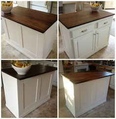 $20 Kitchen Island Makeover | The Serene Swede featured on Remodelaholic.com #butcherblock #board_and_batten #kitchenisland #makeover @Remodelaholic .com