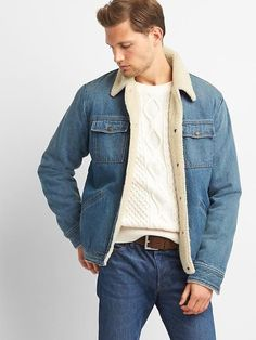 e2ef28bcf2 Gap Mens Icon Sherpa-Lined Denim Jacket Medium Indigo Sherpa Lined Denim  Jacket