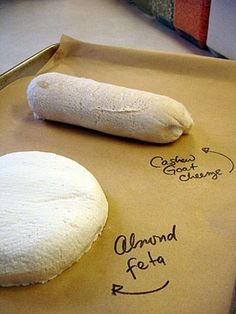 Baking Both Almond Feta and Cashew Goat vegan cheese (substitute soy milk with coconut or almond #Great Food #yummy food #food