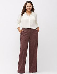 Cut to flatter moderate curves in our Lena silhouette, our timeless tweed wide leg pant works it from 9 to 5 and well beyond. This versatile favorite sweeps the scene with a cuffed wide leg for office-perfect polish. Finished with four pockets and tab & slide closure. lanebryant.com