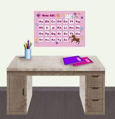 """ABC Lernposter - Motiv: """"Pferd-rosa"""" passend zum Motiv gibt es auch Stundenpläne u. Das kleine 1x1 und großen Wandkalender/planer  • www.meinposterladen.de"""