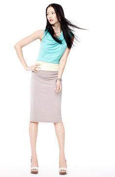 Suzi Chin for Maggy Boutique Draped Colorblock Jersey Dress