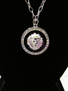 """Silver Plated Lion Medallion Statement Necklace hangs 16"""" from the neck. $10/ea"""
