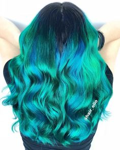 Turquoise Curls Ocean watercolor hair by Use our Neptune Pack to create your own teal color melt – each pack includes Cerulean Sea + Smokey Teal + Sea Witch and a tint brush! Brown Hair With Blonde Highlights, Brown Ombre Hair, Teal Hair, Ash Blonde Hair, Bright Blonde, Light Brown Hair, Brown Hair Colors, Green Hair, Fun Hair Color