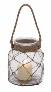 28855 AMBHome Jute Rope Netted Glass Jar Candle Lantern With A Sturdy Rope Handle. Seal Your Life With An Incomparable Old-World Charm With This Creatively Etched Dazzling Candle Lantern. Crafted From The Heavy-Duty Glass And Studded With A Jute Rope, Th Hanging Candle Lanterns, Lantern Candle Holders, Candle Jars, Pillar Candles, Mothers Day Crafts For Kids, Rope Crafts, Glass Jars, Jute, Ridge Road