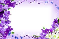 Transparent Purple Frame | Photo frame in purple colors and decorated with bluebell flowers.