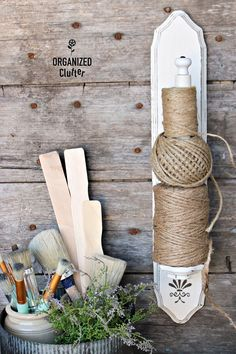 Candle Sconce Twine Holder DIY organizedclutter.net
