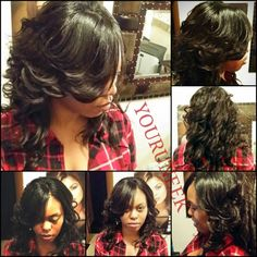 Full sewin layers curls side bangs natural part