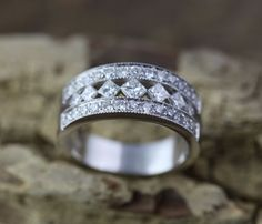 14K White Gold Ring/Band with Round Pave Diamonds and Princess Channel Diamonds