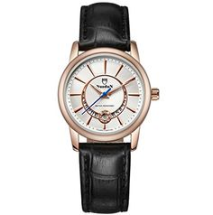 Scheppend Womens Rose Goldtone Retro Wrist Watch with Leather BandBlack ** For more information, visit image link. (Note:Amazon affiliate link)