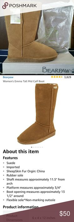 BEARPAW EMMA TALL WOMEN'S BOOTS BRAND NEW IN BOX. NEVER WORN. SIZE 10. Ordered online, too big and it's a hassle to return. I paid $90 plus S&H. REAL SHEEPSKIN, REAL SHEEP'S WOOL. SUPER WARM & COMFORTABLE. BearPaw Shoes Winter & Rain Boots