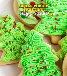 This sugar cookie frosting is light, creamy, and has the perfect amount of sweetness! Make this recipe for your Christmas cookie decorating. Christmas Sugar Cookie Icing Recipe, Easy Sugar Cookie Frosting, Fluffy Frosting Recipes, Xmas Cookies, Iced Cookies, Icing Recipes, Cookie Decorating, Christmas Recipes, Christmas Time