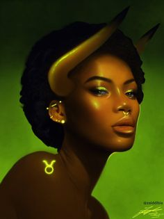 Taurus by Zaid Dibis Capricorn Art, Zodiac Signs Taurus, Zodiac Art, Taurus Bull, Taurus Taurus, Zodiac Horoscope, Black Girl Cartoon, Black Girl Art, Black Women Art