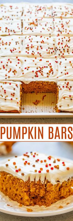 Pumpkin Bars with Cream Cheese Frosting - These super soft and moist pumpkin bars are the perfect EASY fall dessert!! Tangy cream cheese frosting is a wonderful complement to these perfectly pumpkin-spiced bars!! Fall Desserts, Just Desserts, Delicious Desserts, Dessert Recipes, Bar Recipes, Dessert Ideas, Healthy Recipes, Pumpkin Bars, Pumpkin Cookies