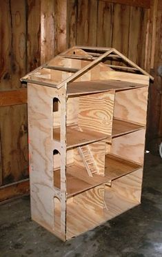 DIY doll house for Barbie - very inexpensive to make (link to tutorial) Lavoie Roy Sarniak I know a certain little niece would love this in the future :) Homemade Dollhouse, Diy Dollhouse, Dollhouse Miniatures, Wooden Dollhouse, Barbie Furniture, Dollhouse Furniture, Funky Furniture, Furniture Design, Barbie Doll House