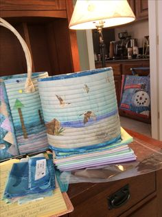 The is McKenna Ryan art print panel Days End from her Beach Walk quilt made into a Rockport basket - Aunties Two pattern
