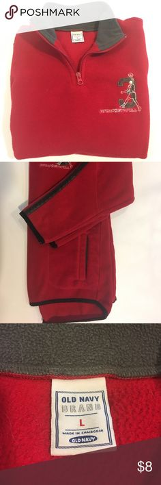 Boys Old Navy Basketball Fleece 1/4 Zip GREAT condition, no rips, no stains, smoke free household! Warm fleece jacket, basketball theme, side pockets, and 1/4 zip at the top. Old Navy Shirts & Tops Sweatshirts & Hoodies