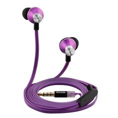 IKross In-Ear 3.5mm Noise-Isolation Stereo Earbuds with Microphone (Purple) for Samsung Galaxy Note Edge 4 3, Galaxy S5, Galaxy Tab 4 (10.1/ 8.0/ 7.0 inch), Blackberry, iPhone, Smartphone, Cell Phone, MP3 Player and Tablet. Model # Ikhs13u. Includes three pairs of soft gel earpieces in various sizes for custom fit. Easily switch from your music to take and end callsCord mounted microphone with single multifunction buttonNoise reduction microphone and earbudsPremium tangle-free flat...