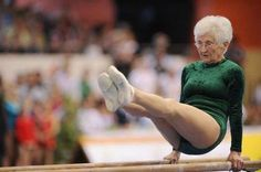 86 year old woman doing gymnastics.  Her legs look like a 20 year old