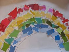 This could be fun for all the kids to do together on a giant rainbow as a group activity.  Practice Gluing skills, colors, and following patterns.