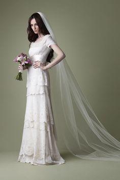 1910s Edwardian style cream tiered lace wedding dress. @Jordan Bromley Massey something vintage?
