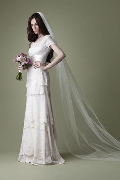 Jane austen style wedding dresses   ... style cream tiered lace wedding dress   The Natural Wedding Company