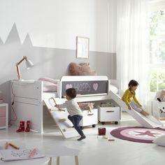 Alfred&compagnie vous présente le lit toboggan Rose &Timothée 90x200.  Ce lit enfant à stucture en pin scandinave, solidement construit, possède des caractéristiques bien malignes qui en font beaucoup plus qu'un simple lit !   Plus d'infos sur notre site internet : www.Alfredetcompagnie.com