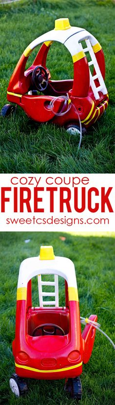 make a cozy coupe into a firetruck at sweetcsdesigns.com - perfect for halloween! #sp