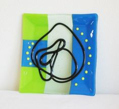 Blue/Green with Black Squiggle in Fused Glass at Windy Sea Designs