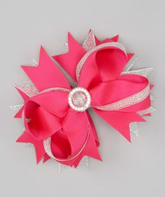 Take a look at this Hot Pink Big Jewel Bow Clip by Sue Berk Designs on #zulily today!