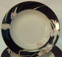 Mikasa Charisma Soup Cereal Bowl L 9050 Iris Floral Modern Black  #Mikasa