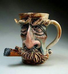 Mustache Cigar Face Mug jug folk art sculpture pottery coffee mug by Grafton Pottery Mugs, Pottery Art, Sculpture Art, Sculptures, Face Jugs, Clay Mugs, Weird Art, Ceramic Cups, Face Art