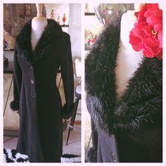 Retro Black Coat Faux Fur Swing Rockabilly M L Vintage 1940s 40s 30s | eBay
