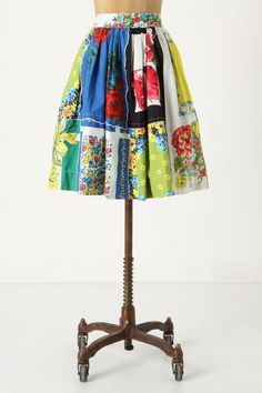 "Anthroplogie Tablecloth Patchwork Skirt, an ""I can do that"" sewing project using vintage fabrics. Recycle, Upcycle, Salvage, RePurpose! For ideas and goods shop at Estate ReSale & ReDesign, Bonita Springs, FL"