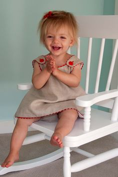 Natural linen crisscross smock and matching diaper cover
