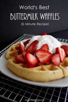 The Best Quick Buttermilk Waffle Recipe are barely crisp on the outside and soft and warm on the inside. In other words - Perfection! These are a must make! | Featured on The Best Blog Recipes