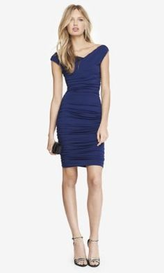 For Residency/Graduation Party BLUE SURPLICE WRAP RUCHED JERSEY MIDI DRESS from EXPRESS