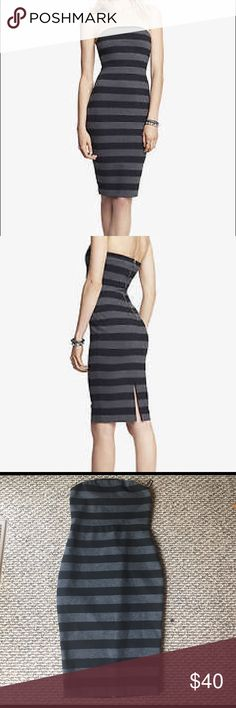 SALE  NWOT EXPRESS BLACK & GRAY STRIPED DRESS EXPRESS BLACK & GRAY STRIPED STRETCH KNIT TUBE DRESS SZ 2 New without tags! Perfect  condition Express Dresses