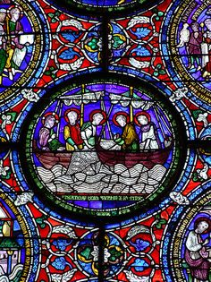 Jesus and disciples fishing, medieval stained glass detail, Canterbury Cathedral    Late 12th century. North window, northern aisle, quire.