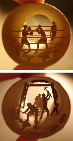 Toilet Paper Rolls: Paper Cut Collages by Anastassia Elias  ~To accompany the TP sculptures