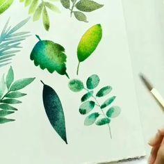 Watercolor Painting Techniques, Watercolour Tutorials, Watercolour Painting, Watercolours, Realistic Flower Drawing, Cute Flower Drawing, Watercolor Leaves, Floral Watercolor, Iphone Wallpaper Video