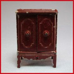 "Tootsie Toy Dollhouse Console Radio Cabinet – Brown 1930s 1/2"" Scale from curleycreekantiques on Ruby Lane"