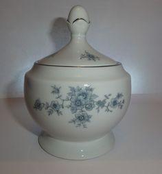 Winterling Schwarzenbach Bavaria Porcelain Sugar Bowl Blue lid  flowers Wig 48