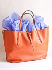 Orange Leather Tote from And George on Taigan