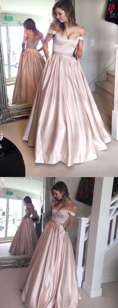 Charming Pink A-line Off Shoulder Beaded Satin Prom Dresses Ruffles Party Dress Formal Dress Graduation Dresses #prom #dresses #longpromdress #promdress #eveningdress #promdresses #partydresses #2018promdresses #pinkofftheshoulderpromdresses