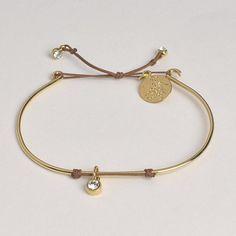 YOS - Un jour mon prince Bracelet Jonc pendentif cristal avec cordon 50€