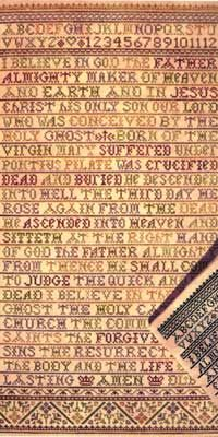 The Apostles Creed is a reproduction style sampler.  It has been designed in either a multi-color or single-color version.  The stitch count is 155 x 299.