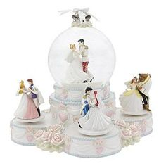 Disney princess Snowglobe Wedding Cake topper... probably wouldnt put this on my wedding cake... but it is still super cute