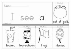 St Patrick's Day Sight Word Flip Books (color and black and white). Great for developing reading fluency in beginning and struggling readers!